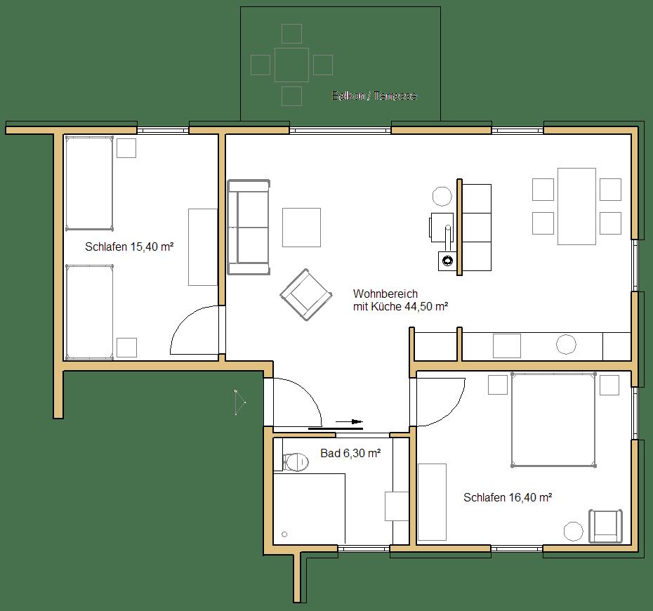 Grundriss der großen Ferienwohnung im Erd- oder Obergeschoss