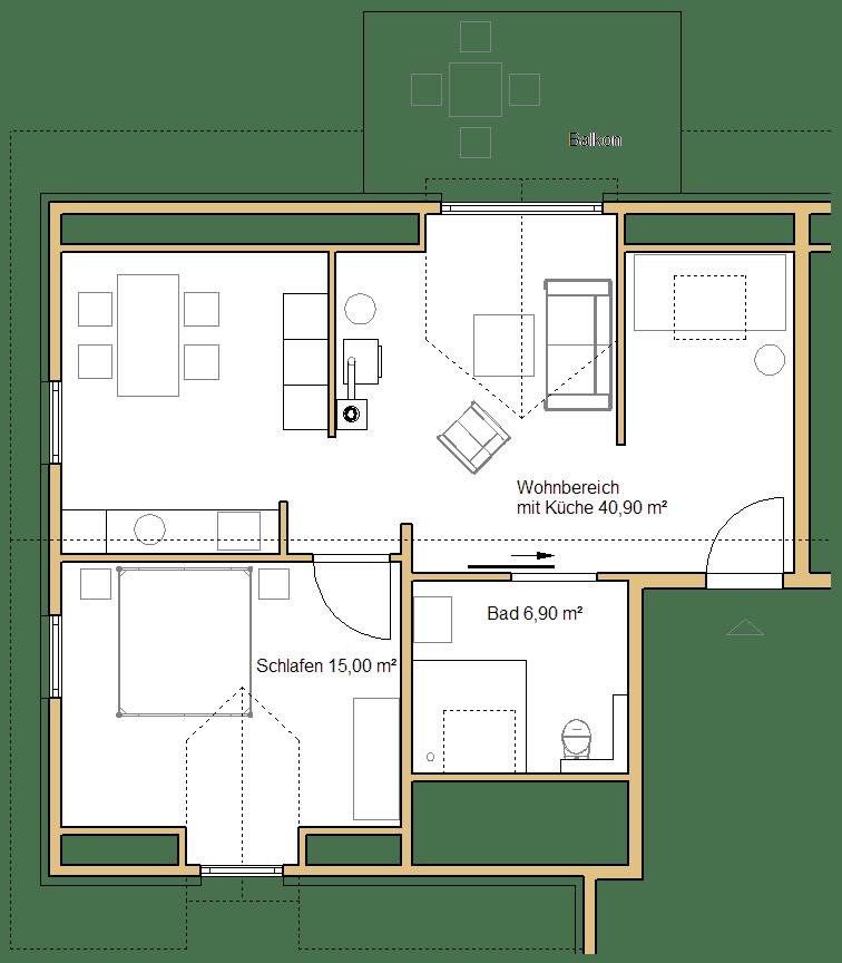 Grundriss der kleinen Ferienwohnung im Dachgeschoss