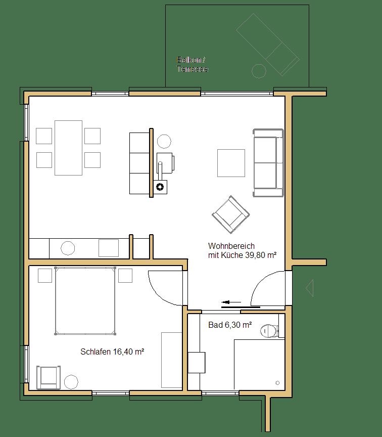 Grundriss der kleinen Ferienwohnung im Erd- oder Obergeschoss