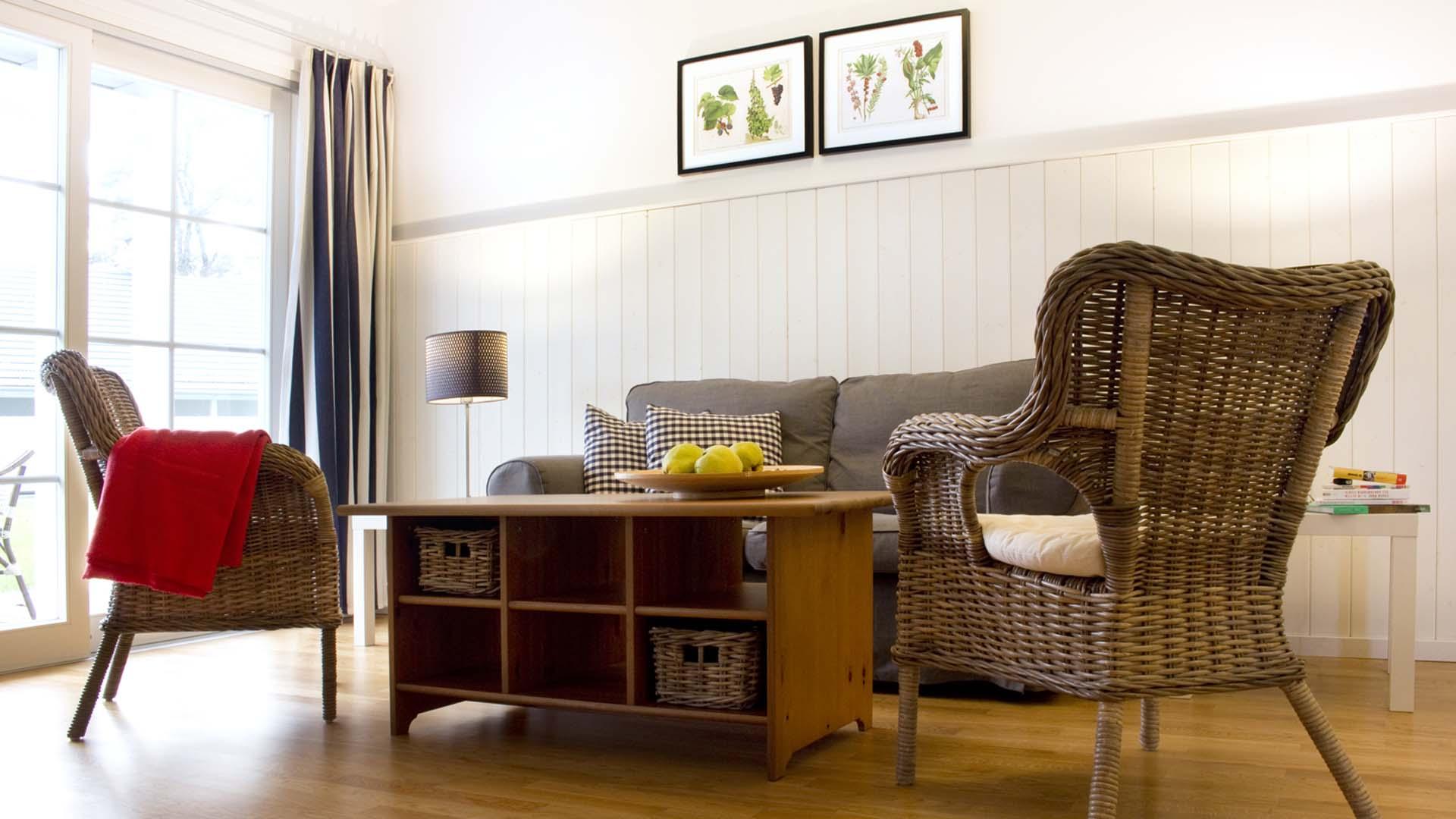 Sitzecke im Wohnzimmer eines Apartments