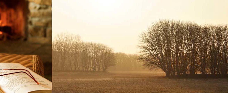 Herbstlandschaft, Kaminfeuer, Lektüre